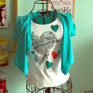 Girls Turquoise Fancy Shirt with Hearts